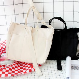 2020 weiße farbe handtaschen Canvas Handtaschen Damen Herren Einkaufstaschen Wiederverwendbare Einkaufstaschen Farbe Schwarz Weiß Taschen günstig weiße farbe handtaschen