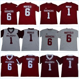 6e2d87606 Mens NCAA Oklahoma Sooners 6 Baker Mayfield 1 Kyler Murray Stitched  Embroidered Logos College Football Jerseys Free Shipping White Red