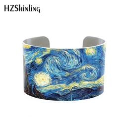 Pinturas de noite estrelado on-line-Noite Estrelada Van Gogh pulseira de punho Vincent van Gogh Pulseira Wristband Girassóis Jóias Floral Pinturas Famosas, Famoso Artista