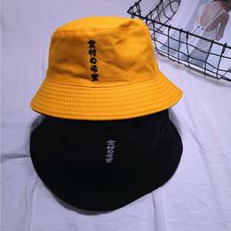 Cappello cinese online-Ricamo casuale cinese Lettera cappello della benna di Hip Hop del cappello di corsa esterna Estate giapponese vacanze Sun delle donne di Panama Fisherman Cap
