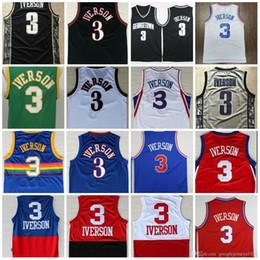 e0bffa03dbf0 College NCAA Mens Allen 3 Iverson Jerseys Georgetown Hoyas USA Black Blue  White Rev 30 Classical Jerseys cheap usa basketball jerseys
