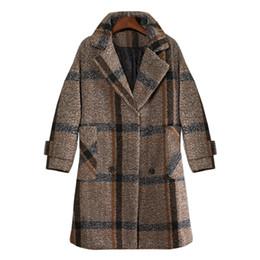 174e7da146e Big size women s woolen coat female medium and European 2018 winter and  autumn clothes new fat sister lattice woolen coat fat woman coats for sale