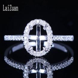 anéis de casamento de ouro branco semi-montagem Desconto LaiZuan Natural Diamond Ring sólido Jewelry 10K White Gold Certified Oval Cut 7.5x5mm Wedding Engagement Semi configuração Montagem Anel