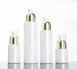 cajas de lápiz labial negro al por mayor Rebajas Frasco de vidrio blanco 30 / 50g vacío 20/30 / 100ml loción de bomba de vidrio blanco / botella de spray tapas de colector de oro