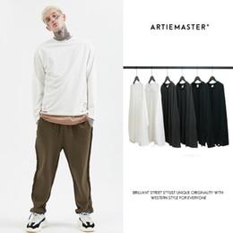 2020 corte roupas soltas Mens Designer vestuário Wash Água Cut High Street europeus e americanos estilo solto de mangas compridas Homens T-shirt 2019 Outono Top Quality corte roupas soltas barato
