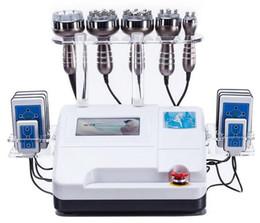 lipo laser pads cavitación Rebajas 6 EN 1 Máquina de RF de Cavitación Liposucción Ultrasónica 8 Almohadillas 650NM Lipo Láser Máquina de Adelgazamiento Rejuvenecimiento de Piel con RF de Vacío