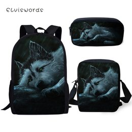 Pluma de fantasía online-ELVISWORDS Mochilas para niños Set Fantasy Wolf Pattern School Book Bags Cartoon Animal Students 3PCs Mochila / Messenger Bag / Pen Bag