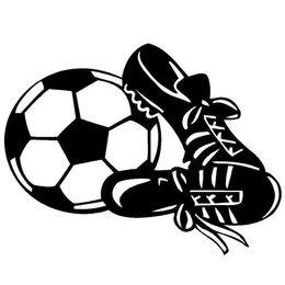 Fußballschuhball online-12,7 * 9,8 CM Kreative Mode BALL SCHUH ZIEL FUSSBALL Sport Vinyl Aufkleber Auto Aufkleber Schwarz / Silber CA-1153