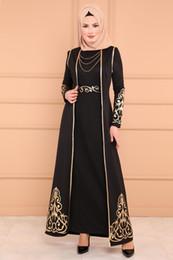 Mermaid maxi dresses online-Musulmana maxi túnica larga Mujeres Oriente Medio Estampado dorado Vestido de sirena Dubai Árabe Islámica Ropa Abaya vestido de noche turco con chaleco