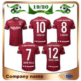 Uniformes du japon rouge en Ligne-Nouveau 19/20 Japon maillot de football J.League Vissel Kobe 2020 Home Rouge # 8 A.INIESTA Maillots de Football PODOLSKI DAVID VILLA Uniforme de Football