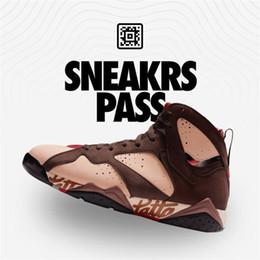 Chaussures de vison en Ligne-Authentic Air 7S Patta x 7 OG SP Shimmer Tough Red, rouge, acajou, vison, brun, chaussures de basket-ball pour homme, extérieur
