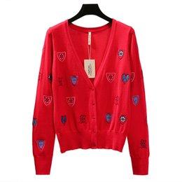 Casacos de mulheres bonitos casacos on-line-Makuluya chique âncora bordado mulheres com decote em v de mangas compridas bonito de malha cardigan camisola primavera outono mulheres magro casaco menina tops