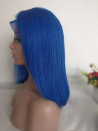 синий короткий парик волос Скидка Синие Кружевные Передние Парики Малайзии Прямые Короткие Короткие Выреза Glueless Человеческих Волос Парик Боб Для Чернокожих Женщин Полный 150% Плотность Цветной Синий Парик Шнурка