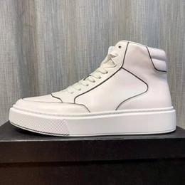 haut cuir Promotion Marque hommes design en cuir de vache chaussures de planche à roulettes mode plat cuir véritable haut-Top ACE Sneaker Sport Formateurs Casual Street Chaussures blanches, 38-45