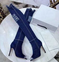 туфли на каблуке 11 см Скидка Роскошные новые женские рыцарь мотоцикл Ковбой западные высокие каблуки 11 см сломанное отверстие бедра - высокие сапоги размер 35-40