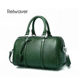 genuína python bolsas Desconto Relwaver mulheres genuíno bolsas de couro de luxo padrão python bolsa do vintage boston bolsas de couro das mulheres pequena sacola verde