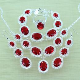 conjuntos de jóias garnet vermelho Desconto 925-Sterling-Silver Red Garnet Jewelry Sets Pulseiras de prata / brincos / anel / colar / pingente para mulheres Jewery Box