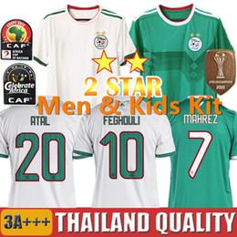 jerseys de epl Rebajas 2 estrellas 19 20 Copa Africana Argelia camisetas de fútbol AFCON MAHREZ BRAHIMI 2019 Algerie Conjunto de camiseta de fútbol BOUNEDJAH BOUAZZA hombres kit para niños uniformes