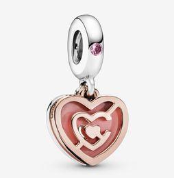corazon rosa pandora encantos colgantes Rebajas Fit Pandora Bracelet Charm Pink Heart Labyrinth Dangle Auténtica plata de ley 925 Colgante Charms Beads European Charms DIY Style Jewelry