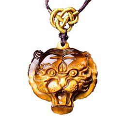 Colgante de ojo de tigre tallado online-Tiger Eye Stone Colgante Tallado A Mano Collar de Cabeza de Tigre Con Cadena Lucky Amuleto Joyería Fina Para Hombres Mujeres Regalo