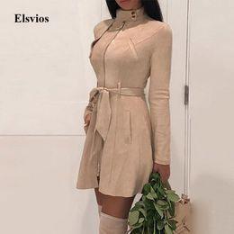 Lunghi abiti in pelle faux online-Vestitino autunno manica lunga benda Miniabito Chic Vintage Zipper Belt partito del vestito Abito all'ingrosso pelle scamosciata del Faux delle donne