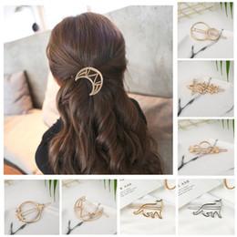 722d361706ba Moda mujer gato estrella pin de pelo pin de metal aleación geométrica  hairband luna accesorios para el cabello círculo hairgrip barrette niñas  titular