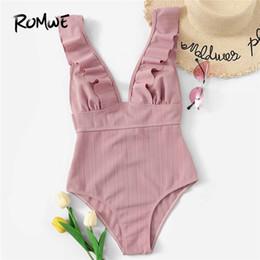 traje de baño de cuello hundido Rebajas Romwe Sport Pink traje de baño sólido traje de baño de una pieza con volantes en el cuello de las mujeres traje de baño Monokinis Beachwear sin cables para el verano