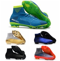 premium selection 63234 49542 2018 Original Red Gold Children Soccer Cleats Mercurial Superfly CR7 Kids  Soccer Shoes High Ankle Cristiano Ronaldo Womens Football Boots kids cr7  gold for ...