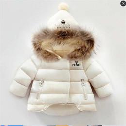 Abrigo de conejo para niños online-Ropa de diseñador para bebés Abrigo para niños Abrigos de invierno para niñas y niños Abrigos de algodón para niños Collar de pelo de conejo