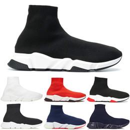 Billige slip schuhe für männer online-Designer Luxury Speed Trainer Socken Schuhe Schwarz Weiß Casual Schuhe Für Männer Frauen Gypsophila Günstige Trainer Stiefel Turnschuhe