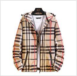 dünne braune lederjacke Rabatt Plus Size-Mann-Marken-Kleidung Big Boys Plaid Jacken Herren Zipper Kapuzenjacke Frühling und Herbst zufälligen Männer Mäntel Outwear