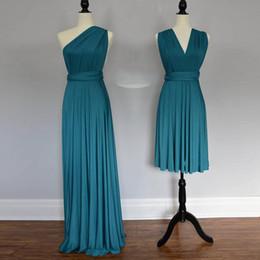 Robe de soirée en mousseline de soie en Ligne-Teal Green Wrap robes de demoiselle d'honneur Sororities robe de soirée à volants en mousseline de soie pas cher robe de bal formelle soirée robes de mariée