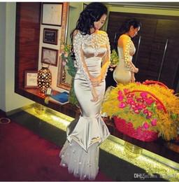 2019 multi abito colorato 2019 New Stunning Sparkly Crystal Prom Dress Mermaid maniche lunghe speciali abito da sera Sexy Sheer Mesh Back Party Dress 376