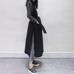 длинный безрукавка кардиган Скидка Vest for Women Sleeveless Sashes Medium Thickness Black Long Length Side Fork Double Breasted Cardigan Fall 2019