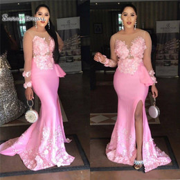 blue maternity evening dresses Promo Codes - Pink Mermaid Side Split Prom Dresses Sheer Neck Long Sleeves Satin Evening Gowns Prom Gowns Custom Made
