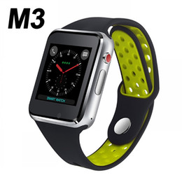 Reloj capacitivo online-M3 Smart Watch Reloj de pulsera Teléfono con 1.54 pulgadas LCD OGS Pantalla táctil capacitiva Ranura para tarjeta SIM Cámara para teléfonos Android PK DZ09 Reloj