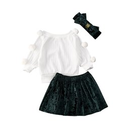 2020 kids velvet skirt Criança Baby Kids Clothes menina manga comprida Tops Velvet Skirt Headband Outfit kids velvet skirt barato