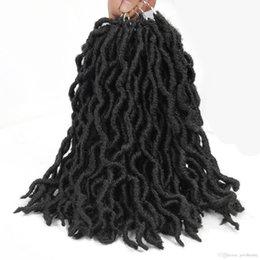 2019 mischfaser haarverlängerungen Boho Goddess Locs synthetische gerade 1B BUG 14 12 Zoll Faux Locs 18 Crochet Flechten Haar Europa USA Black Woven Hair