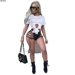 Bow tie camisetas on-line-Novas Mulheres Tie Maxi Sleeve Sexy Up Bow Hem High t-shirts Casual A8389 Tee Curto Branco Baixo Low Active Wear O-Pescoço Irregular LPLOG