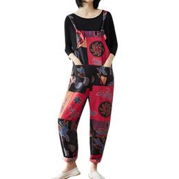 Mamelucos siameses online-Mujeres Casual Bohemio Imprimir Jumpsuit bolsillos Correa Harem Siamese Mono Mamelucos Womens Jumpsuit Monos C3052