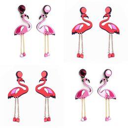 Canada 5 Paire / Lot À La Mode Acrylique Flamingo Boucles D'oreilles Vintage Oreille Ongle Rose Long Gland Oreille Goutte Cadeau D'anniversaire Bijoux pour les Femmes supplier party nail acrylics Offre