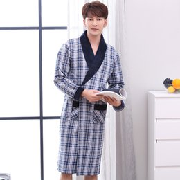 J Q New cotton bathrobe mens dressing gown rede de dormir mens bath robes  kimono men yukata cotton-padded plaid classy bathrobes e57a6cbe9