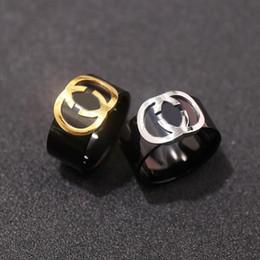 Логотипы панк-групп онлайн-Высокое качество нержавеющей стали панк любителей группа черные кольца с логотипом стиль для женщин и мужчин Марка кольца ювелирные изделия бесплатная доставка PS5402A