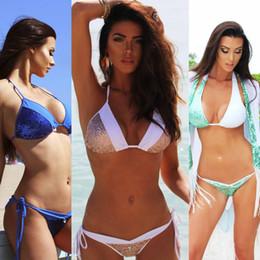 Beaux bikinis en Ligne-Ensemble de deux pièces de bikini de plage de style sexy pour femmes, bel ensemble de maillot de bain, ensemble de bikini à licou à empiècements