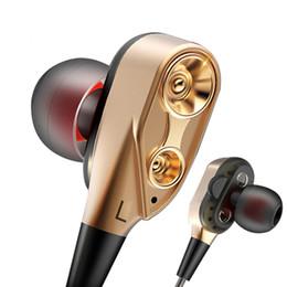 Oreja mp3 online-Doble bobina móvil auriculares con cable auriculares intrauditivos Juegos de música deportiva MP3 3.5mm auriculares universales para teléfono android para ipone 5 6 6S 7 7S