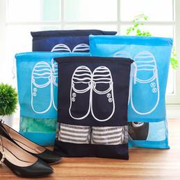 Estojo de sapato portátil on-line-Saco de Cordão De Armazenamento Sapato de inicialização Portátil Organizador de Viagem Saco de Sapatos de Transporte À Prova de Poeira Caso Janela Bolsa de Armazenamento Sacos À Prova D 'Água TTA116