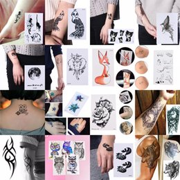 2019 chicas tatuajes falsos Etiqueta engomada del tatuaje temporal a prueba de agua Mandala Henna Owl Fox Cat Fish Body Art Tatto Flash Tatoo tatuajes falsos para niña mujer hombre chicas tatuajes falsos baratos