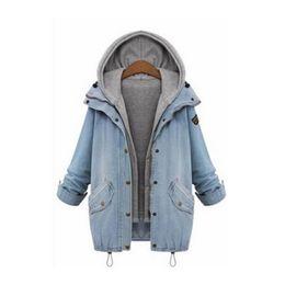 Ternos de estilo vintage on-line-Duas Peças Um Conjunto Terno Tamanho Grande Casaco Jaqueta Adequado Para As Mulheres Moda Casacos Jaquetas Estilo Denim Inverno Quente Cardigan Outerwear