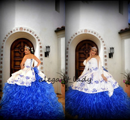 mexican long dresses Promo Codes - White Royal Blue Embroidery Quinceanera Dresses 2019 Sweetheart Long Ball Gown Debutante Dress Vestido de 15 nos Mexican Quinceanera Gown