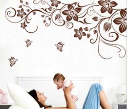 Vinile a parete della vite online-Brown flower vine fai da te vinile wall stickers home decor decalcomanie di arte 3d wallpaper camera da letto divano decorazione della casa adesivo de parede